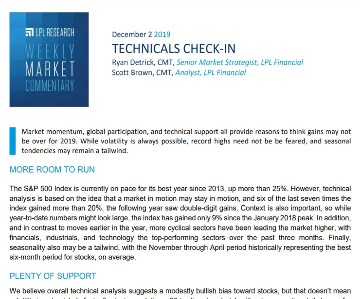 Technicals Check-In | Weekly Market Commentary | December 2, 2019