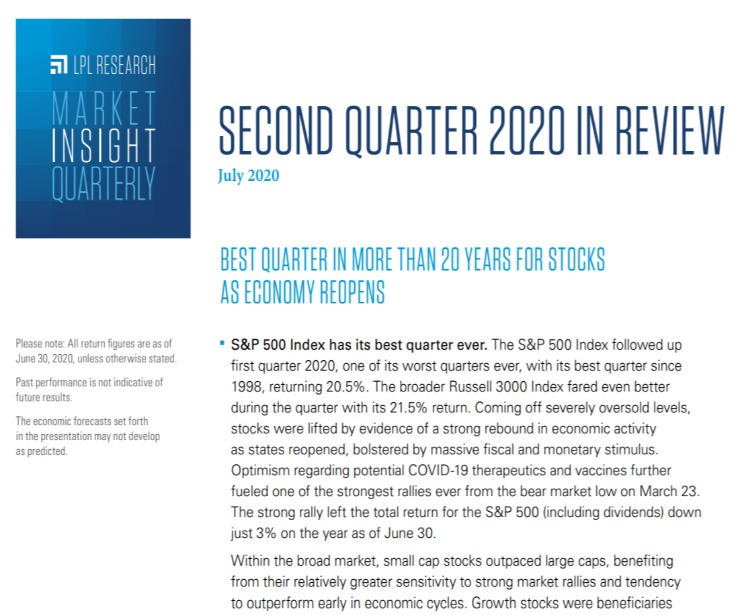 Market Insight Quarterly| Second Quarter 2020 | July 21, 2020