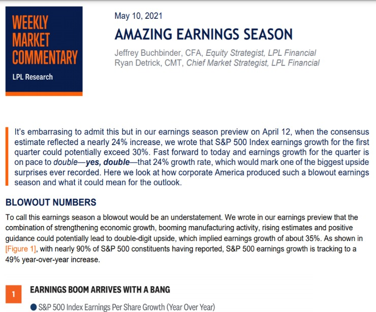 Amazing Earnings Season   Weekly Market Commentary   May 10, 2021